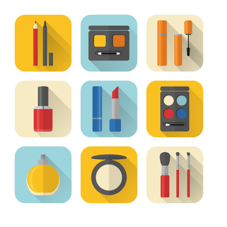 Collection of flat style makeup and cosmetics icons