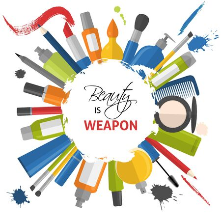 Flat style cosmetic background with quote - Beauty is weapon Illustration