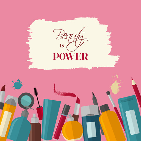 Flat style cosmetic background with quote - Beauty is power Illustration