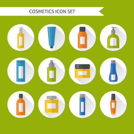 Collection of flat style cosmetic icons with long shadow