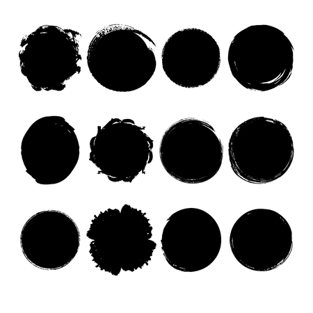 Set of hand drawn grunge circle stains for background