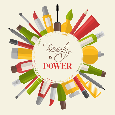 Cosmetic background with quote - Beauty is power Illustration