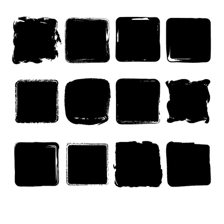 scrawl: Set of  grunge square stains for background