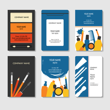 Cosmetic and beauty theme business cards set, template for poster, colorful creative , brochure title sheet in modern flat style Illustration