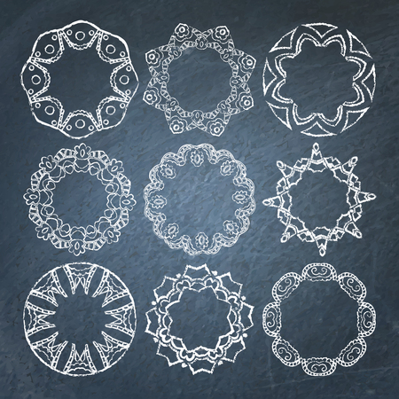 Collection of 9 decorative lacy chalkboard frames Illustration