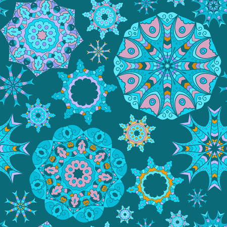 Blue seamless background with circle mandala ornaments. Illustration