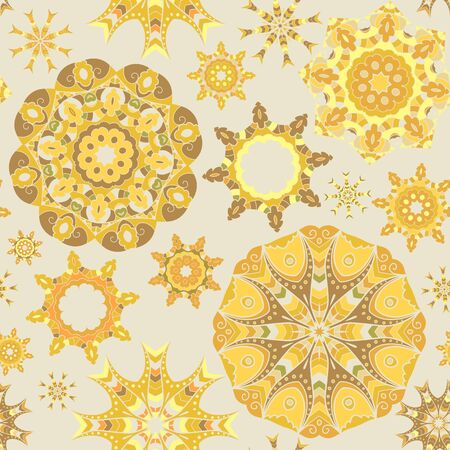 Yellow seamless background with circle mandala ornaments.