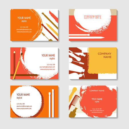 Cosmetic and makeup business cards set. template for poster, colorful creative banner in modern flat style