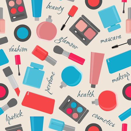 seamless pattern with makeup and cosmetic items, for background and decoration