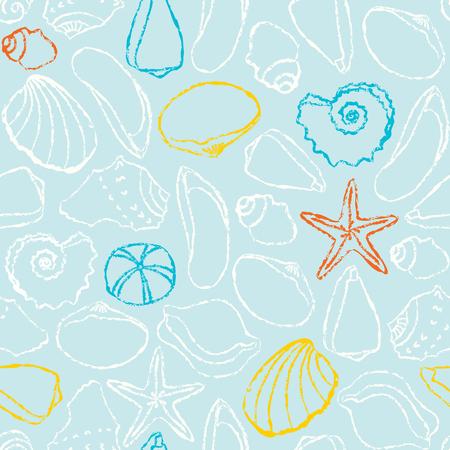 Seamless pattern with  sea shells