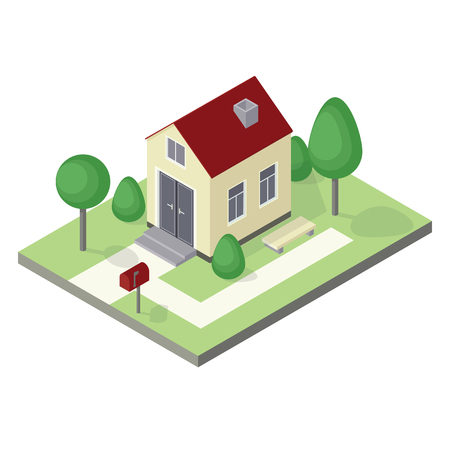 isometric house icon with 3d trees, lawn and mailbox