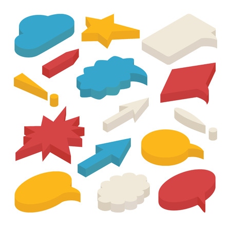 Set of 3d isometric speech bubbles isolated on white background. Includes circle, star and rectangle shapes, arrows, clouds, exclamation marks.