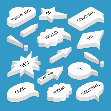 Set of 3d isometric speech bubbles with text, with shadow, isolated. Includes circle and rectangle shapes, isometric arrows, exclamation marks. Illustration