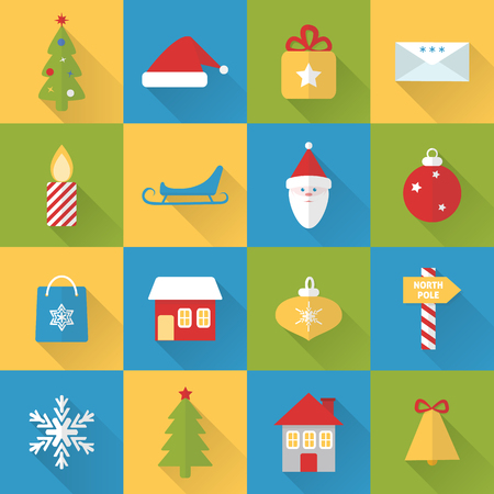 Collection of flat style Christmas icons with long shadow