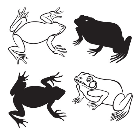 croaking: Two frog figures in silhouette and outline versions