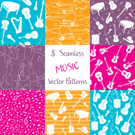 piano roll: Collection of seamless patterns with musical instruments. Colorful repeating vector patterns for background. Illustration