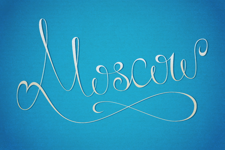 Moscow city lettering on blue