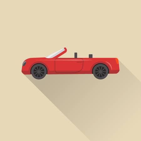 car speed: Flat style cabriolet car icon with long shadow. Illustration