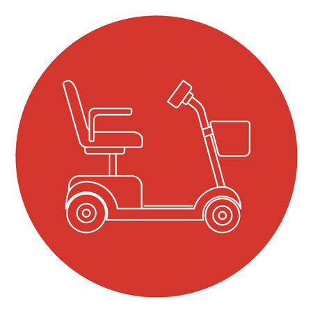 Line art style mobility scooter icon with round frame