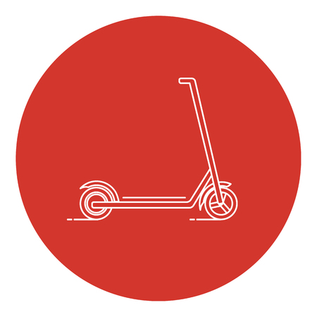 Line art style kick scooter icon with round frame