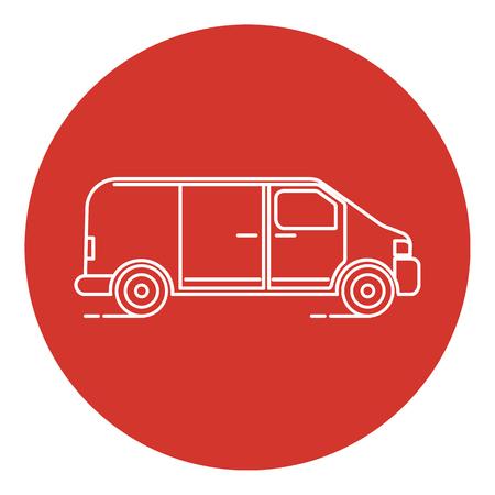 Line art style minivan car icon with round frame