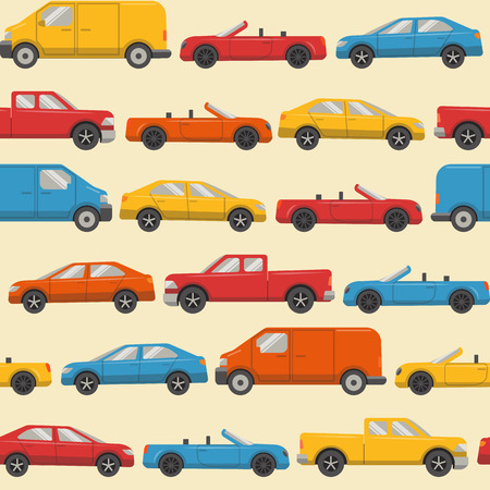 Flat style seamless pattern with colorful cars. Different urban transport on light yellow background.