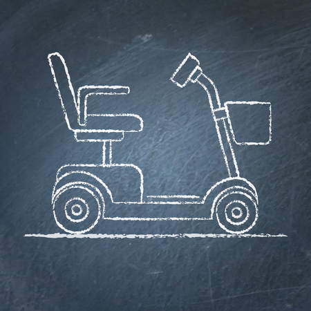 Mobility scooter sketch on chalkboard Çizim