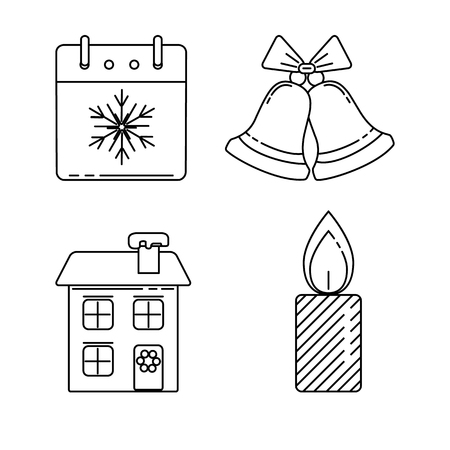 Collection of Christmas and New Year icons in thin line style. Calendar, bells, house, candle.