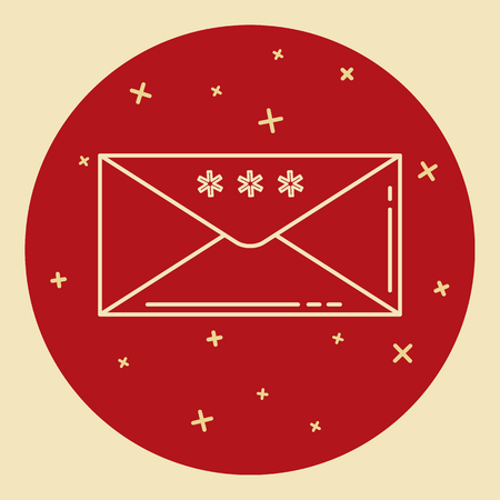 Christmas and New Year mail icon in thin line style. Holiday envelope with snowflakes symbol in round frame.