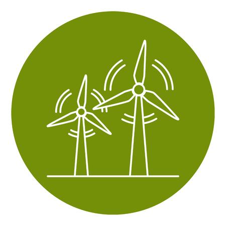 얇은 선 스타일의 풍력 터빈 아이콘입니다. 라운드 프레임에 풍차 기호를 회전합니다. 대체 재생 가능 에너지 원. 일러스트
