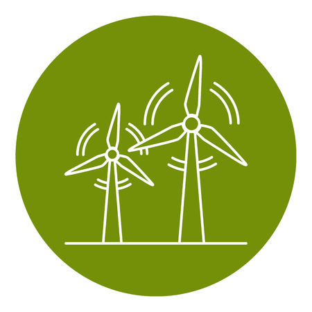 Wind turbine icon in thin line style. Rotating windmill symbol in round frame. Alternative renewable energy source.