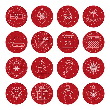 Collection of thin line style Christmas icons in round frame