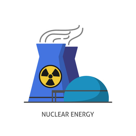 Nuclear power plant icon in flat style. Non-renewable energy source symbol isolated on white background. Vectores