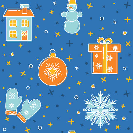lineart: Christmas pattern with holiday symbols
