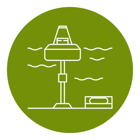 lineart: Wave energy station icon in thin line style. Renewable energy symbol in round frame. Illustration