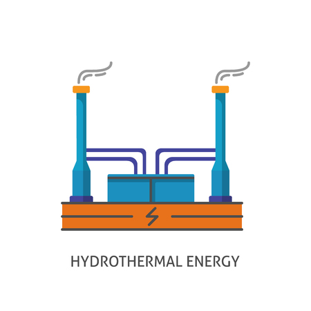 thermal power plant: Geothermal power plant icon in flat style