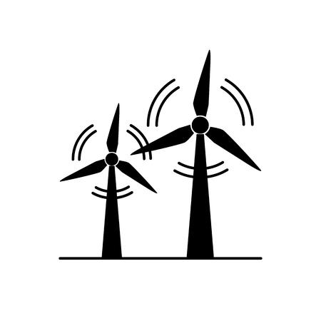 Ikona sylwetka turbiny wiatrowej w stylu płaski. Obrotowy symbol wiatrak na białym tle. Alternatywne odnawialne źródło energii. Ilustracje wektorowe