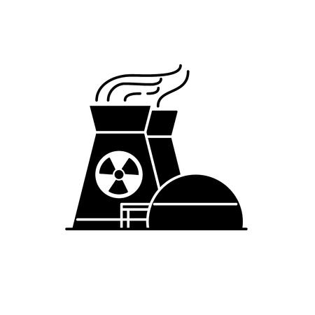Kerncentrale silhouet pictogram in vlakke stijl. Niet-hernieuwbare energiebron symbool geïsoleerd op een witte achtergrond. Stockfoto - 87673681