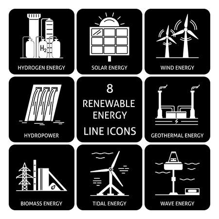 Set of renewable energy silhouette icons Illustration