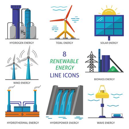 Set di icone di stile piano di energia rinnovabile Vettoriali
