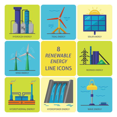 Collection of renewable energy colored square icons. Different types of ecological electricity sources in flat style symbols.