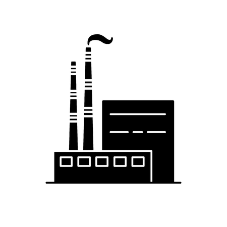 Coal power plant silhouette icon in flat style. Non-renewable energy industrial concept. Fossil fuel energy symbol isolated on white background.