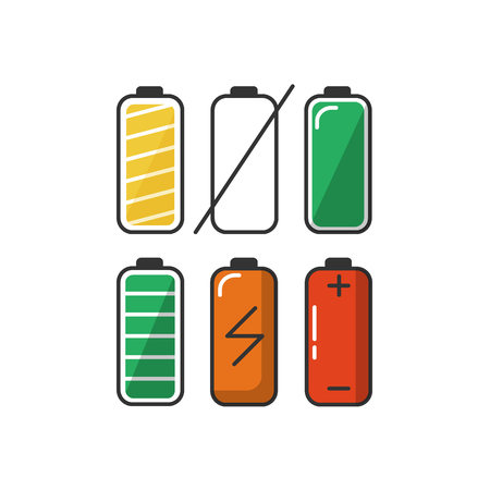 low energy: Set of battery charge level indicators in flat style. Energy load colorful symbols isolated on white background.