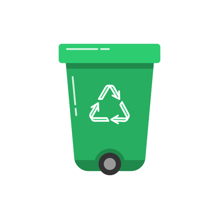 Green Recycle Bin Icon In Flat Style Trash Can With Recycling