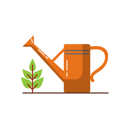 Watering can icon in flat style. Gardening equipment symbol isolated on white background.