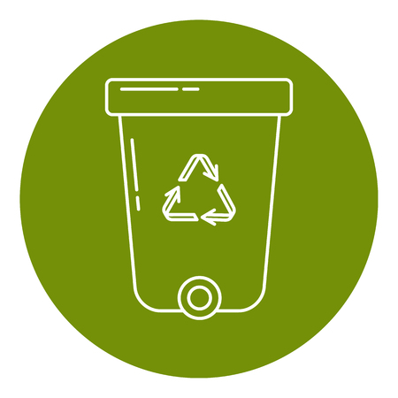 Green recycle bin icon with recycling symbol arrows in round frame.