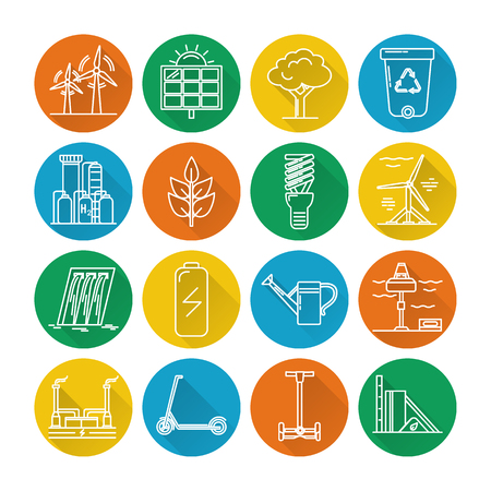 Collection of energy and ecology round icons in thin line style. Renewable energy sources, ecology transport and objects in linear symbols with long shadow.