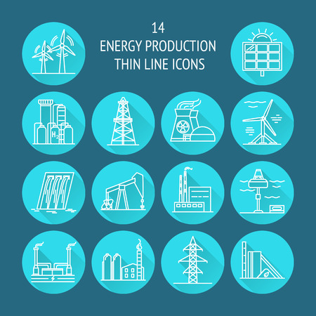 Collection of energy and ecology round icons in thin line style. Renewable energy sources, industrial objects in linear symbols with long shadow.