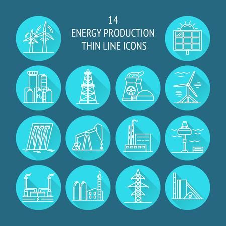 Sammlung von runden Ikonen der Energie und der Ökologie in der dünnen Linie Art. Erneuerbare Energiequellen, industrielle Gegenstände in den linearen Symbolen mit langem Schatten.