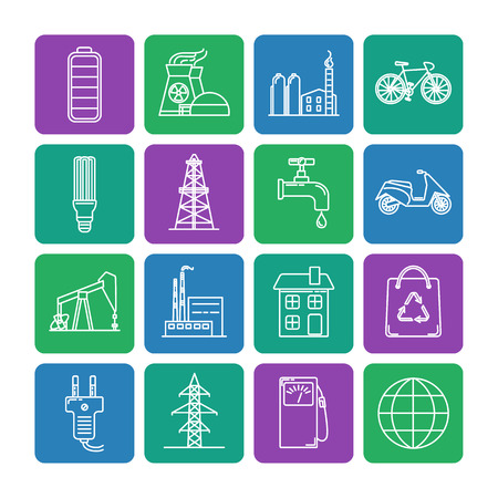 Collection of energy and ecology square icons in thin line style. Energy sources, ecology transport and objects in linear symbols. 向量圖像